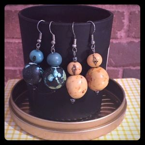 Jewelry - 2 Pair of Resin & Wooden Colorful Earrings Unique